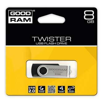 Goodram USB flash disk, 2.0, 8GB, Gooddrive Twister, čierny, PD8GH2GRTSKR9, podpora OS Win 7, nové papierové balenie