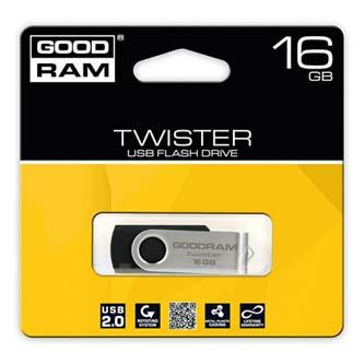 Goodram USB flash disk, 2.0, 16GB, Gooddrive Twister, čierny, PD16GH2GRTSKR9, podpora OS Win 7, nové papierové balenie